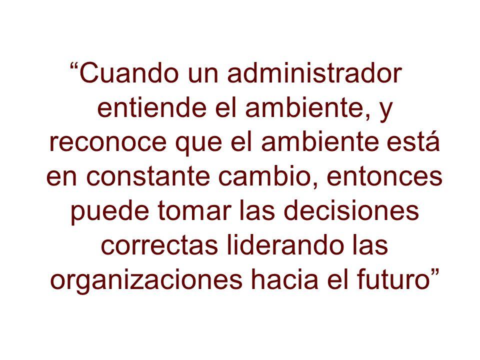 Cuando un administrador entiende el ambiente, y reconoce que el ambiente está en constante cambio, entonces puede tomar las decisiones correctas lider
