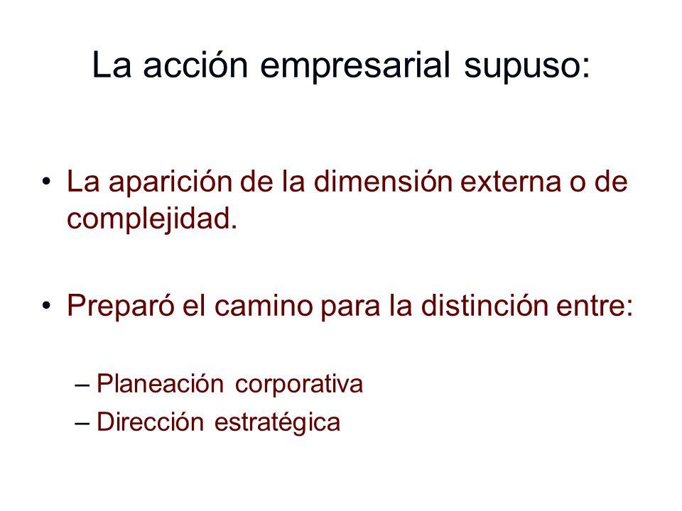 La acción empresarial supuso: La aparición de la dimensión externa o de complejidad. Preparó el camino para la distinción entre: –Planeación corporati