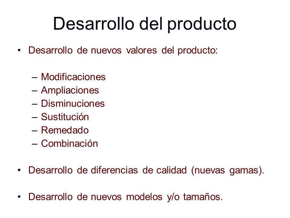 Desarrollo del producto Desarrollo de nuevos valores del producto: –Modificaciones –Ampliaciones –Disminuciones –Sustitución –Remedado –Combinación De