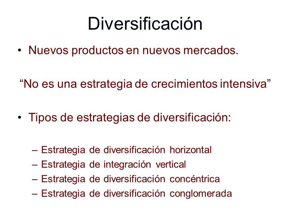 Diversificación Nuevos productos en nuevos mercados. No es una estrategia de crecimientos intensiva Tipos de estrategias de diversificación: –Estrateg