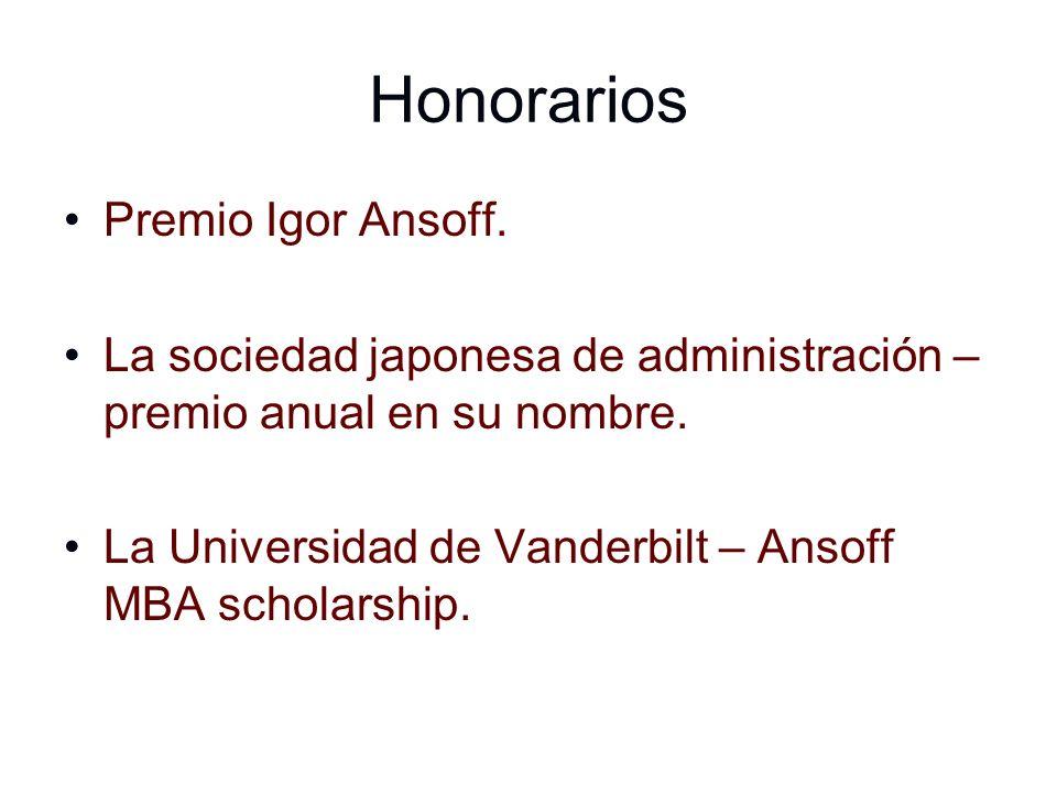 Honorarios Premio Igor Ansoff. La sociedad japonesa de administración – premio anual en su nombre. La Universidad de Vanderbilt – Ansoff MBA scholarsh