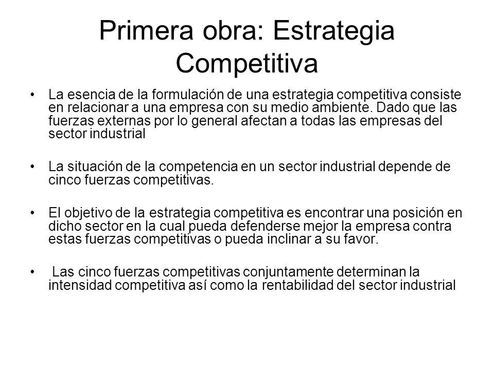 Primera obra: Estrategia Competitiva La esencia de la formulación de una estrategia competitiva consiste en relacionar a una empresa con su medio ambi
