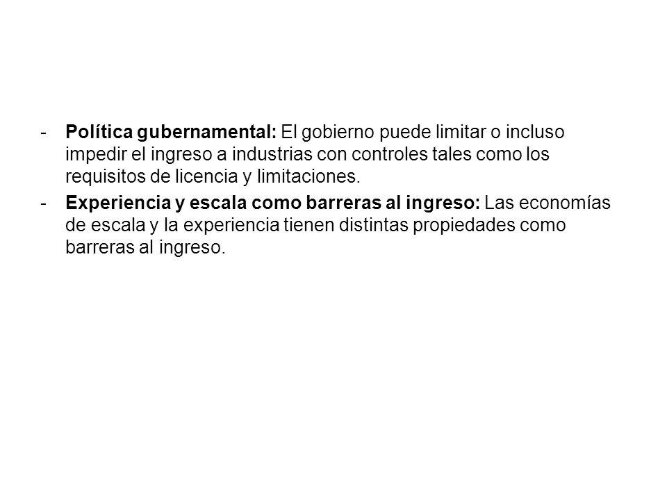 -Política gubernamental: El gobierno puede limitar o incluso impedir el ingreso a industrias con controles tales como los requisitos de licencia y lim