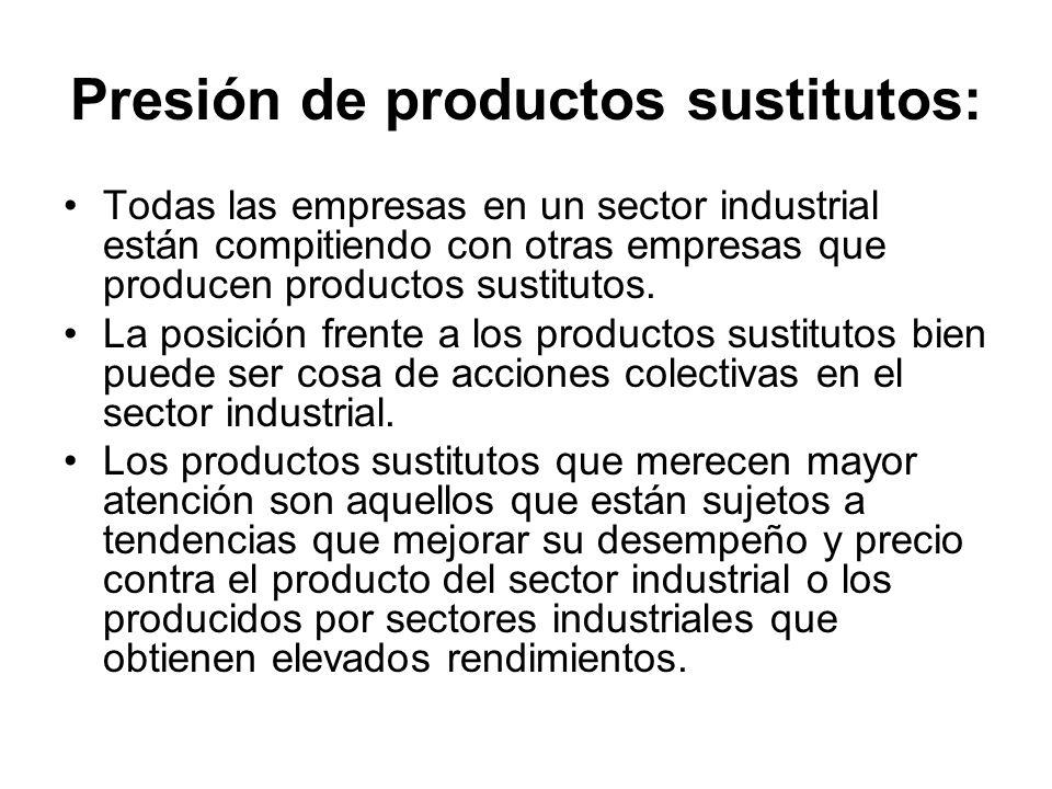 Presión de productos sustitutos: Todas las empresas en un sector industrial están compitiendo con otras empresas que producen productos sustitutos. La