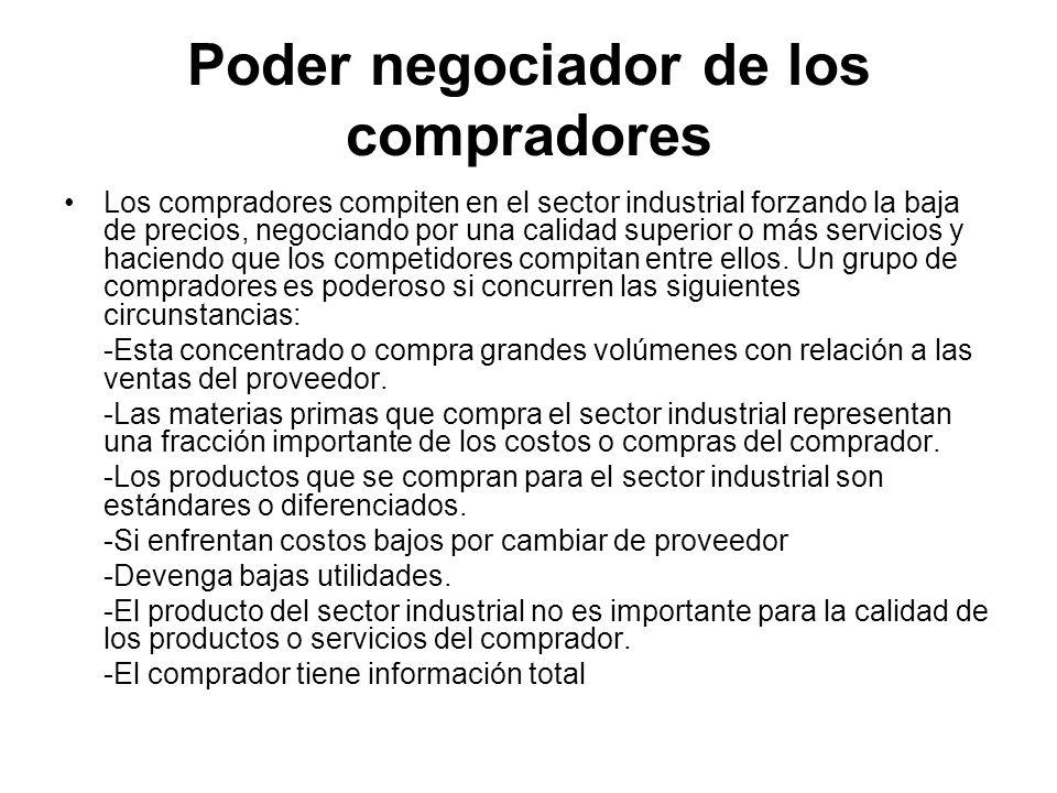 Poder negociador de los compradores Los compradores compiten en el sector industrial forzando la baja de precios, negociando por una calidad superior