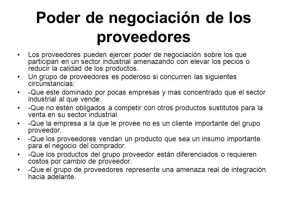 Poder de negociación de los proveedores Los proveedores pueden ejercer poder de negociación sobre los que participan en un sector industrial amenazand