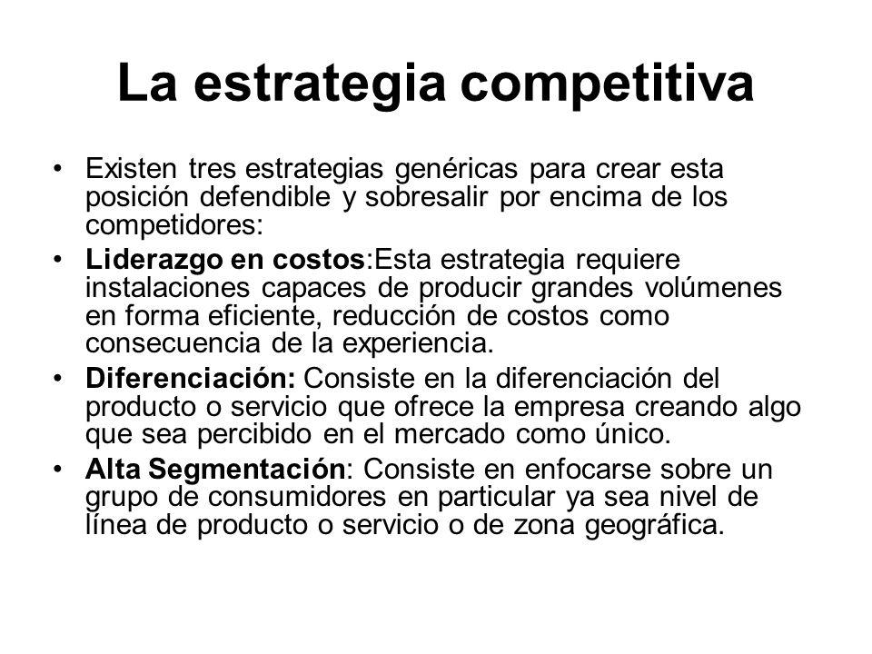 La estrategia competitiva Existen tres estrategias genéricas para crear esta posición defendible y sobresalir por encima de los competidores: Liderazg