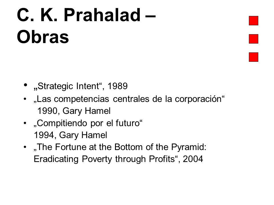 C. K. Prahalad – Obras Strategic Intent, 1989 Las competencias centrales de la corporación 1990, Gary Hamel Compitiendo por el futuro 1994, Gary Hamel