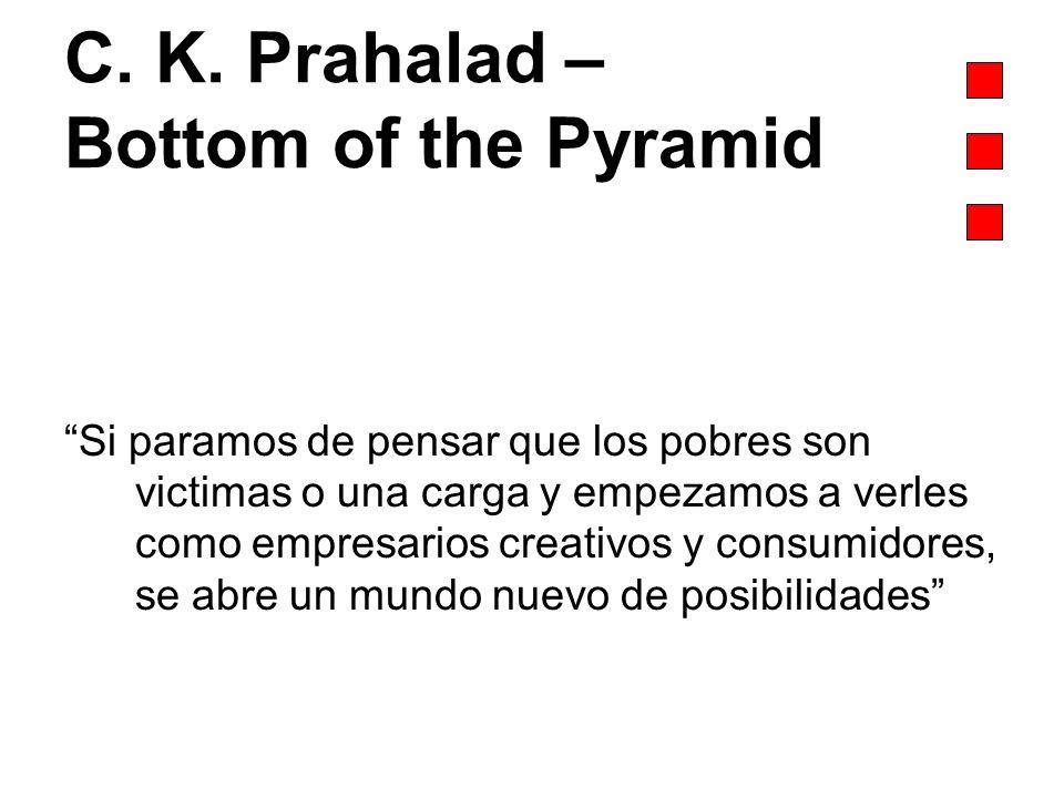 C. K. Prahalad – Bottom of the Pyramid Si paramos de pensar que los pobres son victimas o una carga y empezamos a verles como empresarios creativos y