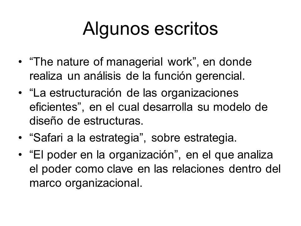 Algunos escritos The nature of managerial work, en donde realiza un análisis de la función gerencial. La estructuración de las organizaciones eficient