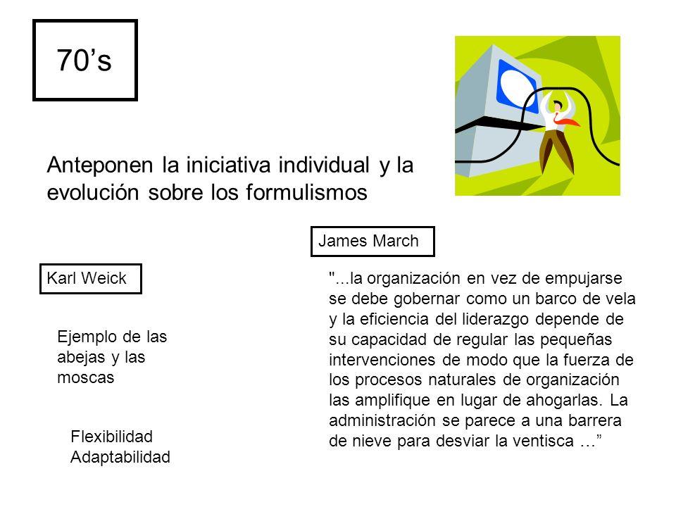 70s Karl Weick James March Anteponen la iniciativa individual y la evolución sobre los formulismos