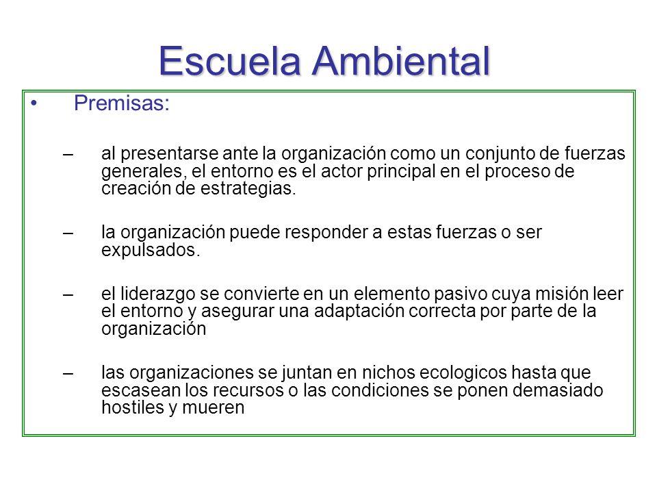 Escuela Ambiental Premisas: –al presentarse ante la organización como un conjunto de fuerzas generales, el entorno es el actor principal en el proceso