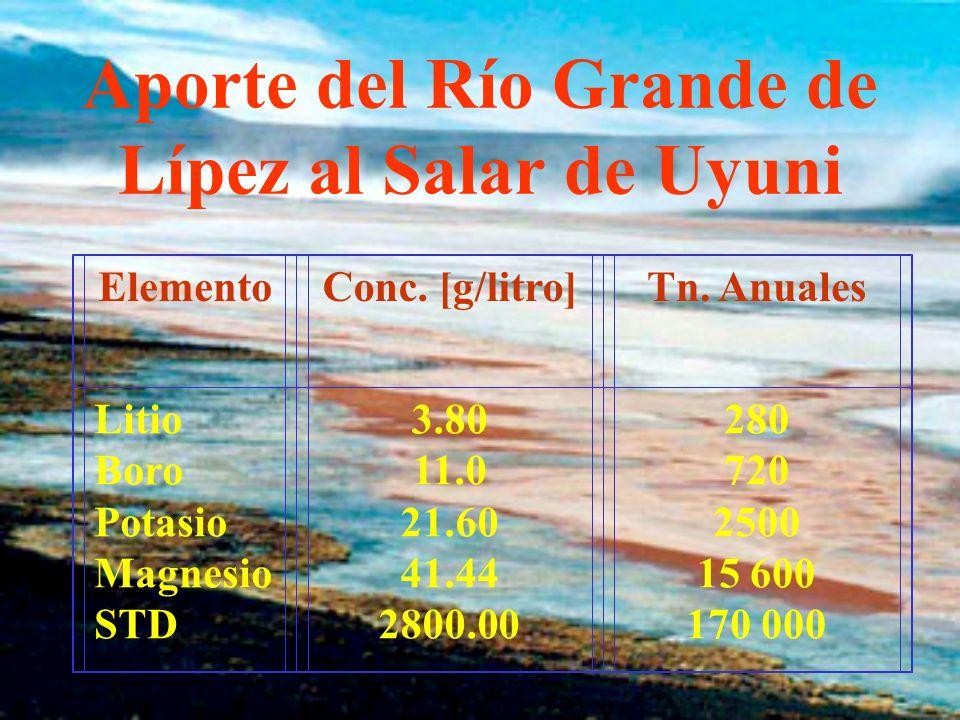 Aporte del Río Grande de Lípez al Salar de Uyuni ElementoConc.