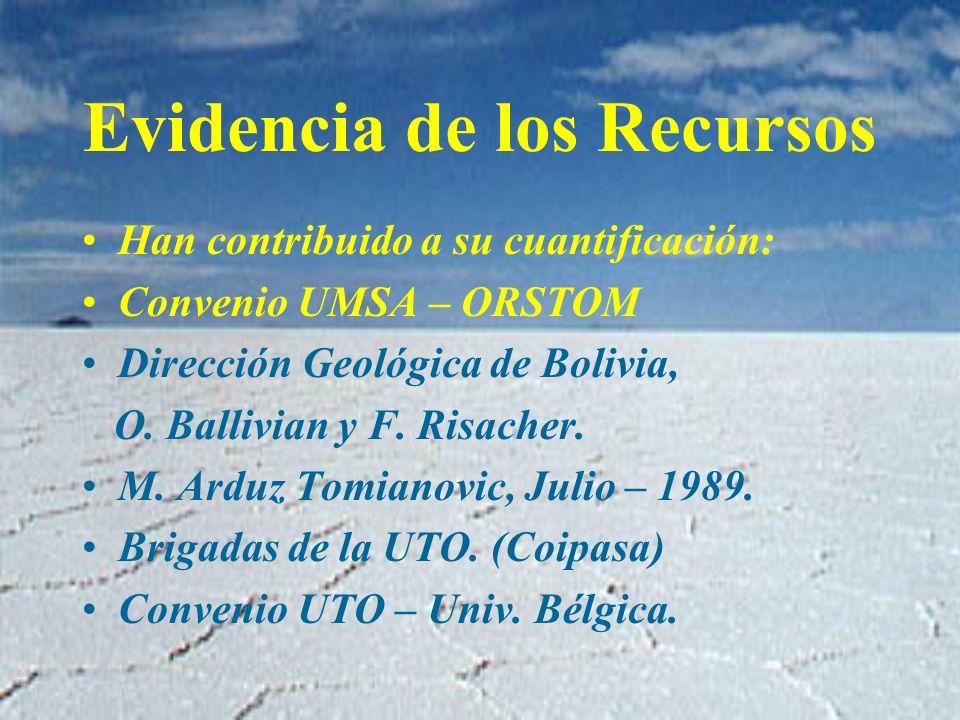 Evidencia de los Recursos Han contribuido a su cuantificación: Convenio UMSA – ORSTOM Dirección Geológica de Bolivia, O.
