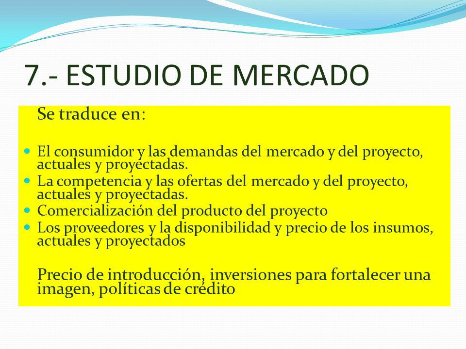 7.- ESTUDIO DE MERCADO Se traduce en: El consumidor y las demandas del mercado y del proyecto, actuales y proyectadas. La competencia y las ofertas de