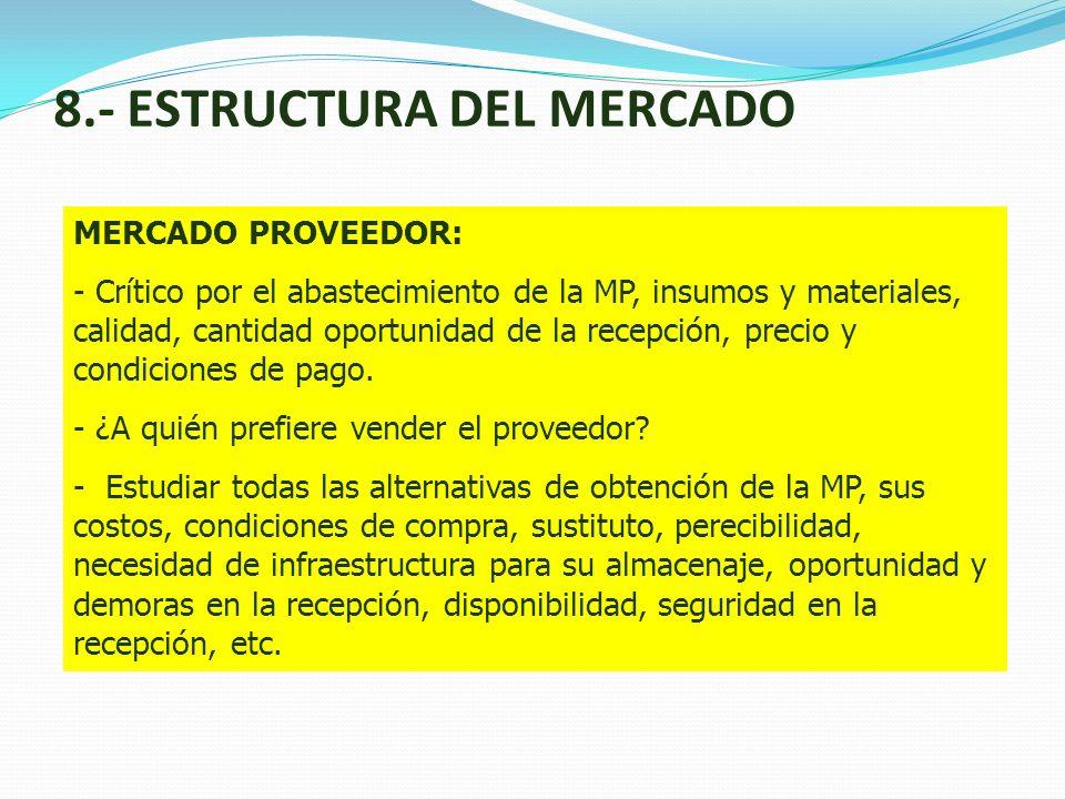 8.- ESTRUCTURA DEL MERCADO MERCADO PROVEEDOR: - Crítico por el abastecimiento de la MP, insumos y materiales, calidad, cantidad oportunidad de la rece