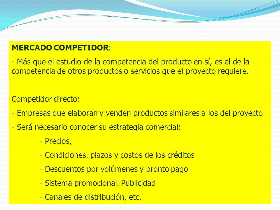 ESTRUCTURA DEL MERCADO MERCADO COMPETIDOR: - Más que el estudio de la competencia del producto en sí, es el de la competencia de otros productos o ser