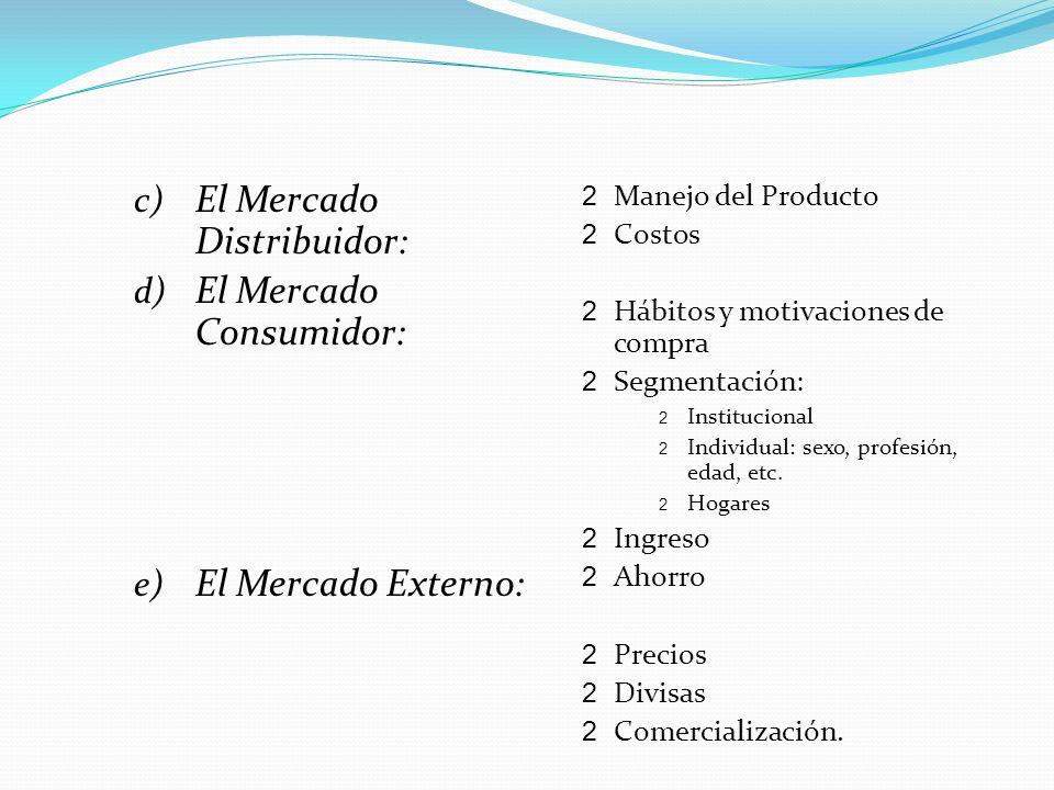 c) El Mercado Distribuidor: d) El Mercado Consumidor: e) El Mercado Externo: 2 Manejo del Producto 2 Costos 2 Hábitos y motivaciones de compra 2 Segme