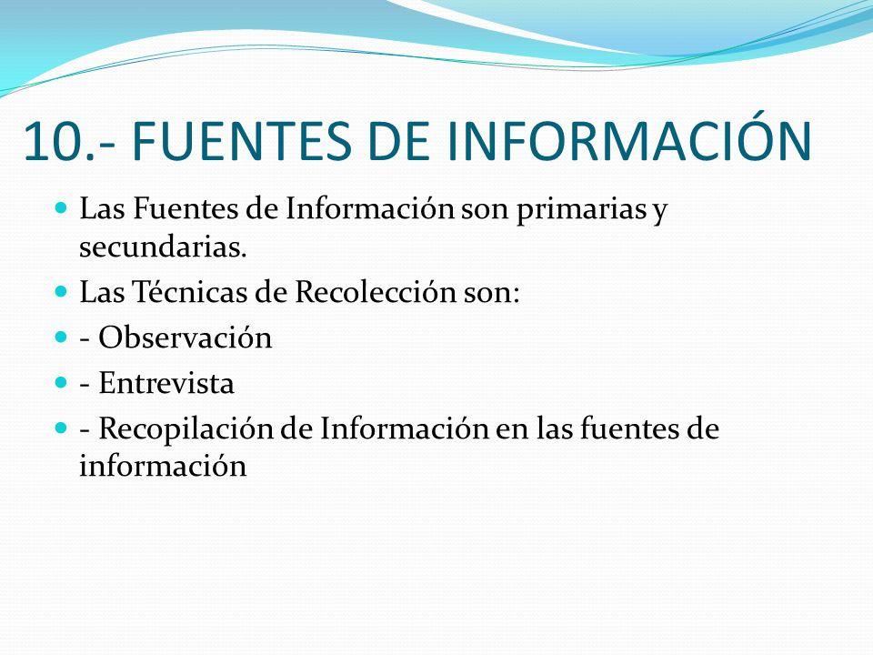 10.- FUENTES DE INFORMACIÓN Las Fuentes de Información son primarias y secundarias. Las Técnicas de Recolección son: - Observación - Entrevista - Reco