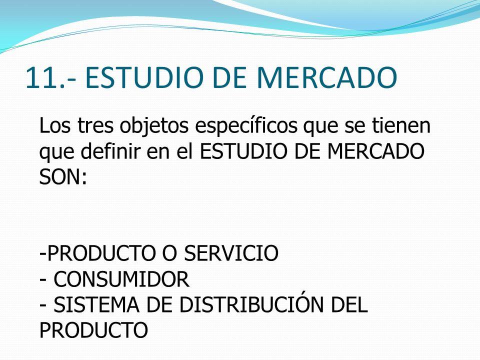 11.- ESTUDIO DE MERCADO Los tres objetos específicos que se tienen que definir en el ESTUDIO DE MERCADO SON: -PRODUCTO O SERVICIO - CONSUMIDOR - SISTE