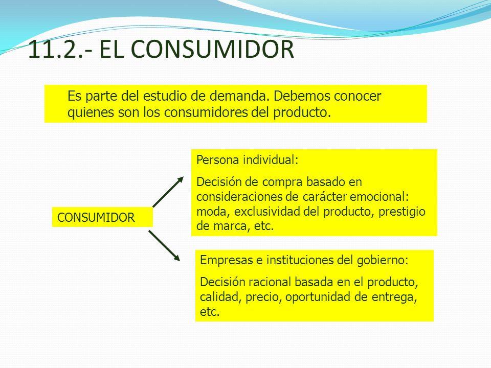 11.2.- EL CONSUMIDOR Es parte del estudio de demanda. Debemos conocer quienes son los consumidores del producto. CONSUMIDOR Persona individual: Decisi