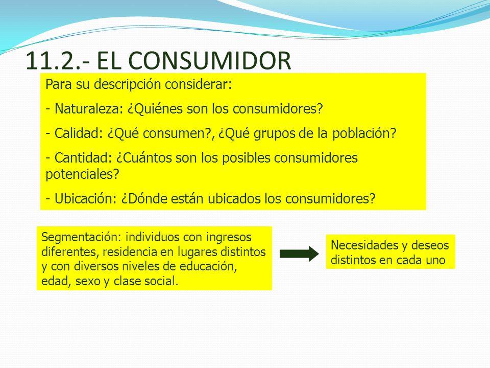 11.2.- EL CONSUMIDOR Para su descripción considerar: - Naturaleza: ¿Quiénes son los consumidores? - Calidad: ¿Qué consumen?, ¿Qué grupos de la poblaci