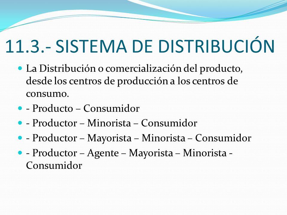 11.3.- SISTEMA DE DISTRIBUCIÓN La Distribución o comercialización del producto, desde los centros de producción a los centros de consumo. - Producto –