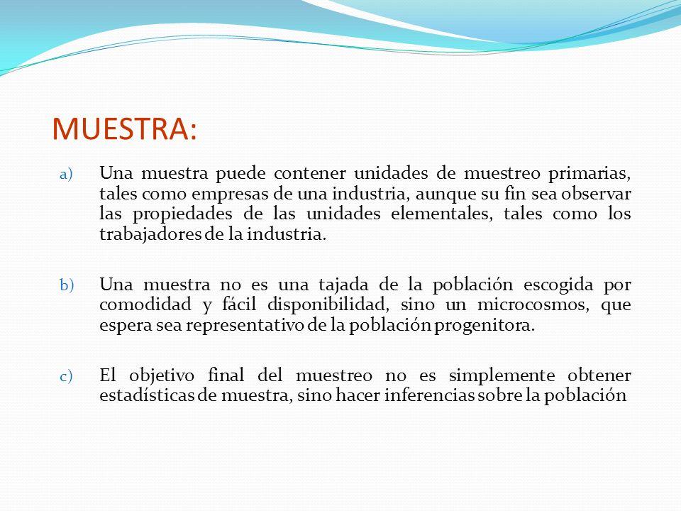 MUESTRA: a) Una muestra puede contener unidades de muestreo primarias, tales como empresas de una industria, aunque su fin sea observar las propiedade