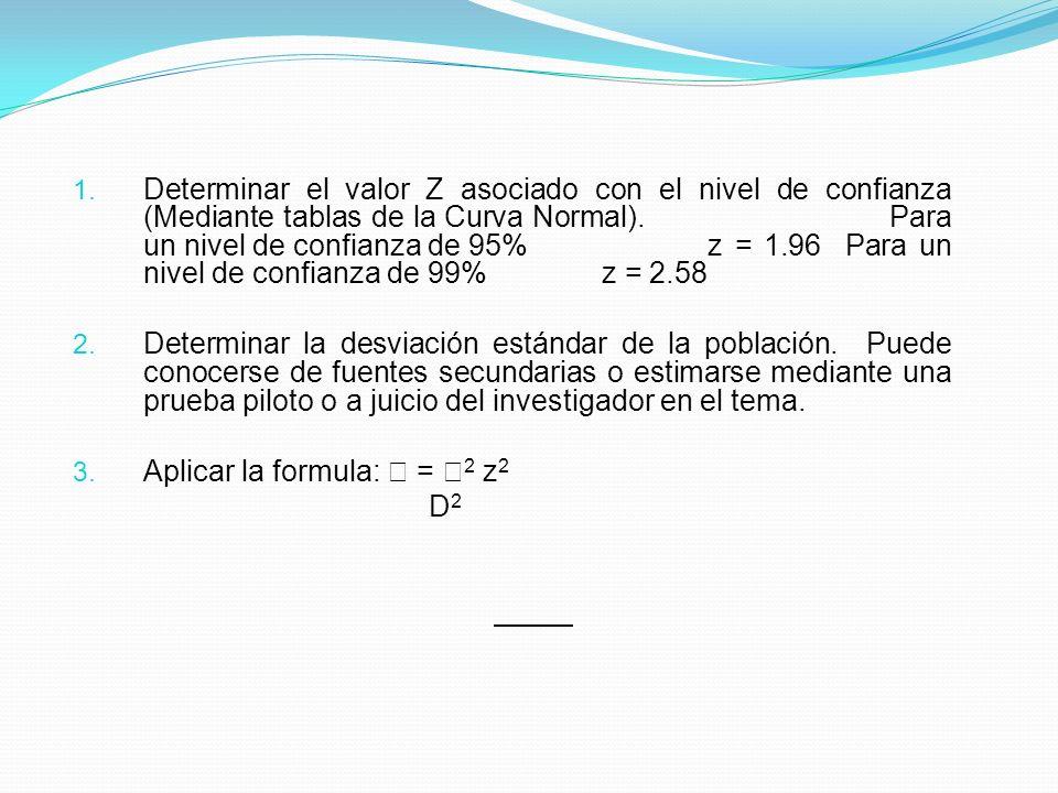 1. Determinar el valor Z asociado con el nivel de confianza (Mediante tablas de la Curva Normal). Para un nivel de confianza de 95%z = 1.96 Para un ni