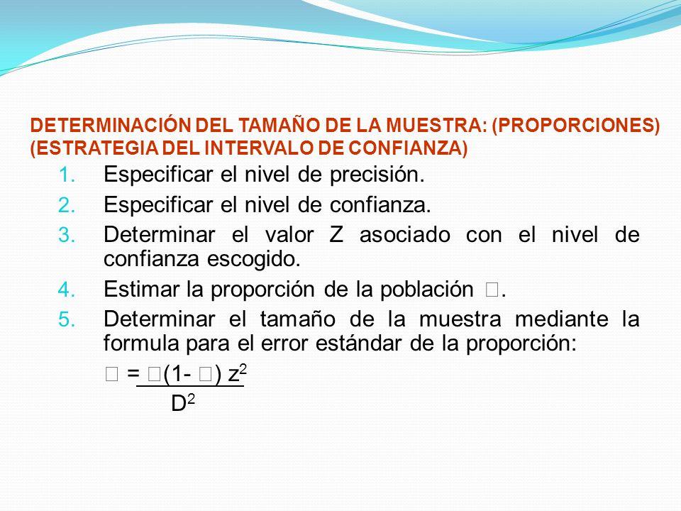 DETERMINACIÓN DEL TAMAÑO DE LA MUESTRA: (PROPORCIONES) (ESTRATEGIA DEL INTERVALO DE CONFIANZA) 1. Especificar el nivel de precisión. 2. Especificar el