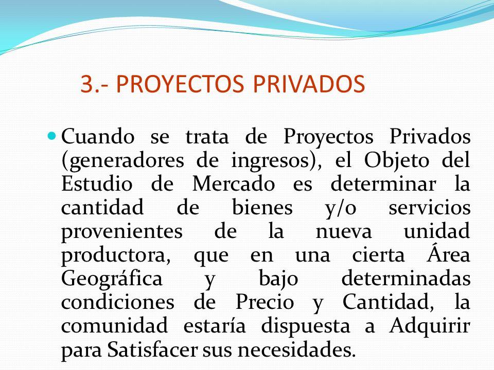 3.- PROYECTOS PRIVADOS Cuando se trata de Proyectos Privados (generadores de ingresos), el Objeto del Estudio de Mercado es determinar la cantidad de