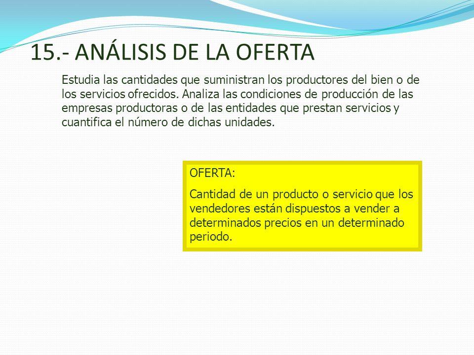 15.- ANÁLISIS DE LA OFERTA Estudia las cantidades que suministran los productores del bien o de los servicios ofrecidos. Analiza las condiciones de pr