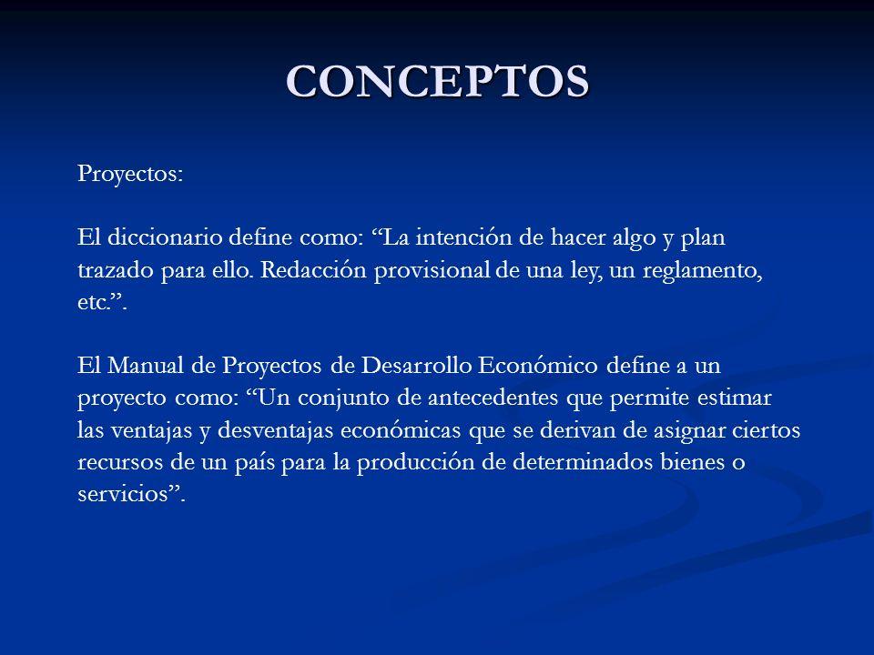 CONCEPTOS Proyectos: El diccionario define como: La intención de hacer algo y plan trazado para ello. Redacción provisional de una ley, un reglamento,