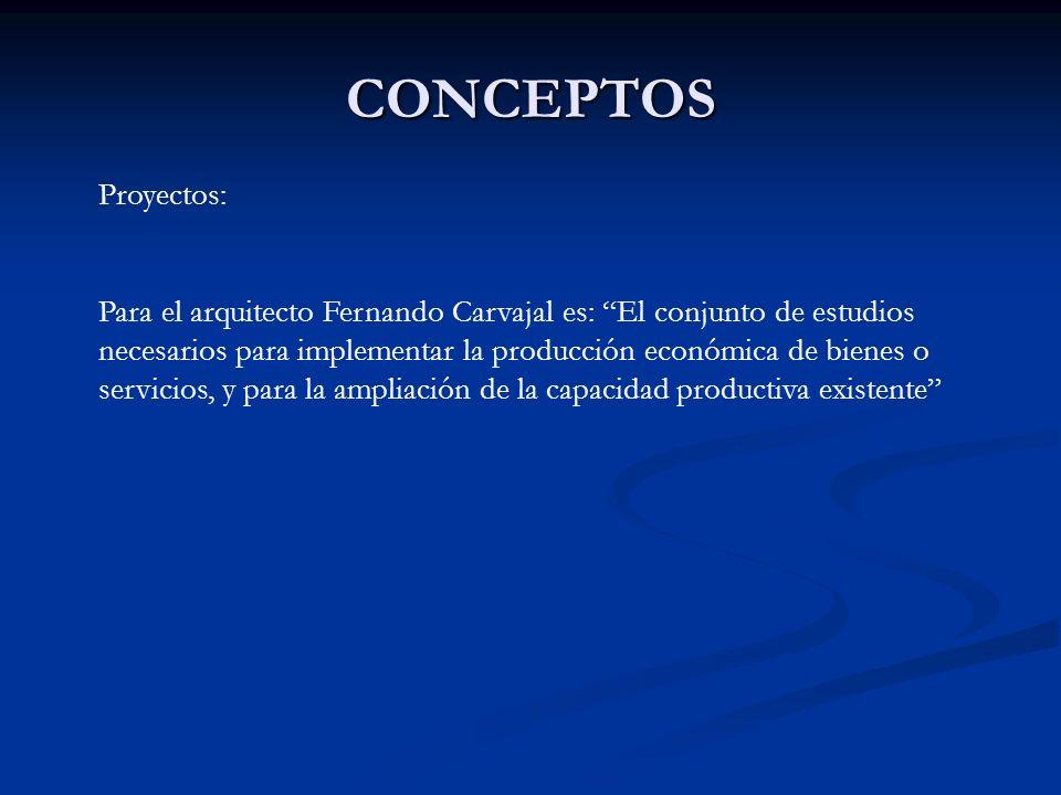 CONCEPTOS Proyectos: Para el arquitecto Fernando Carvajal es: El conjunto de estudios necesarios para implementar la producción económica de bienes o