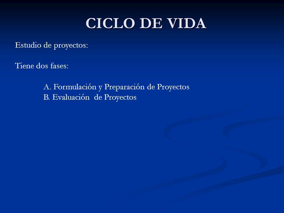 CICLO DE VIDA Estudio de proyectos: Tiene dos fases: A. Formulación y Preparación de Proyectos B. Evaluación de Proyectos