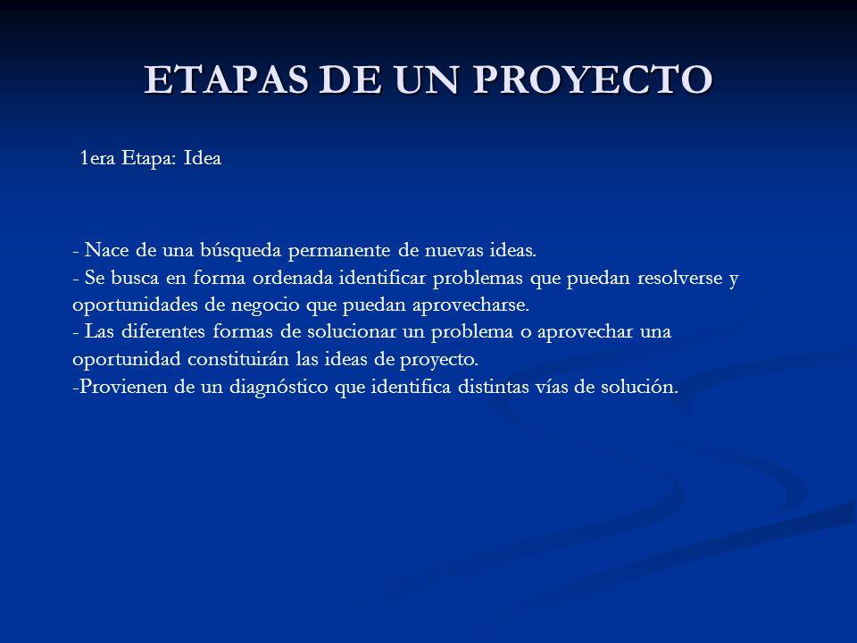 ETAPAS DE UN PROYECTO 1era Etapa: Idea - Nace de una búsqueda permanente de nuevas ideas. - Se busca en forma ordenada identificar problemas que pueda