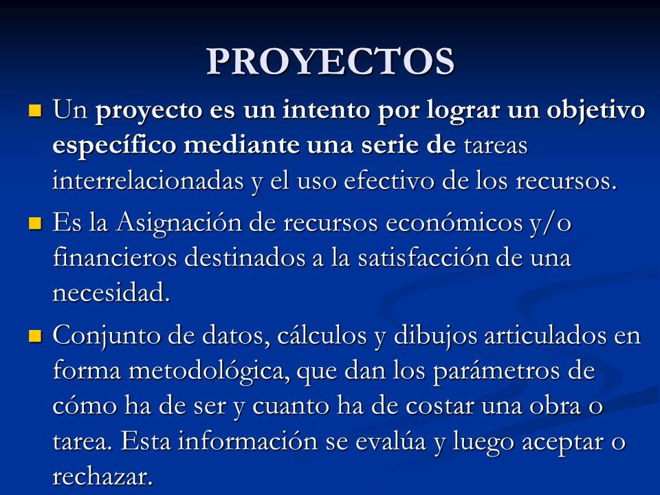 PROYECTOS Un proyecto es un intento por lograr un objetivo específico mediante una serie de tareas interrelacionadas y el uso efectivo de los recursos