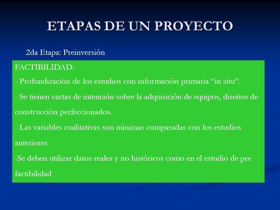 ETAPAS DE UN PROYECTO 2da Etapa: Preinversión FACTIBILIDAD: - Profundización de los estudios con información primaria in situ. - Se tienen cartas de i