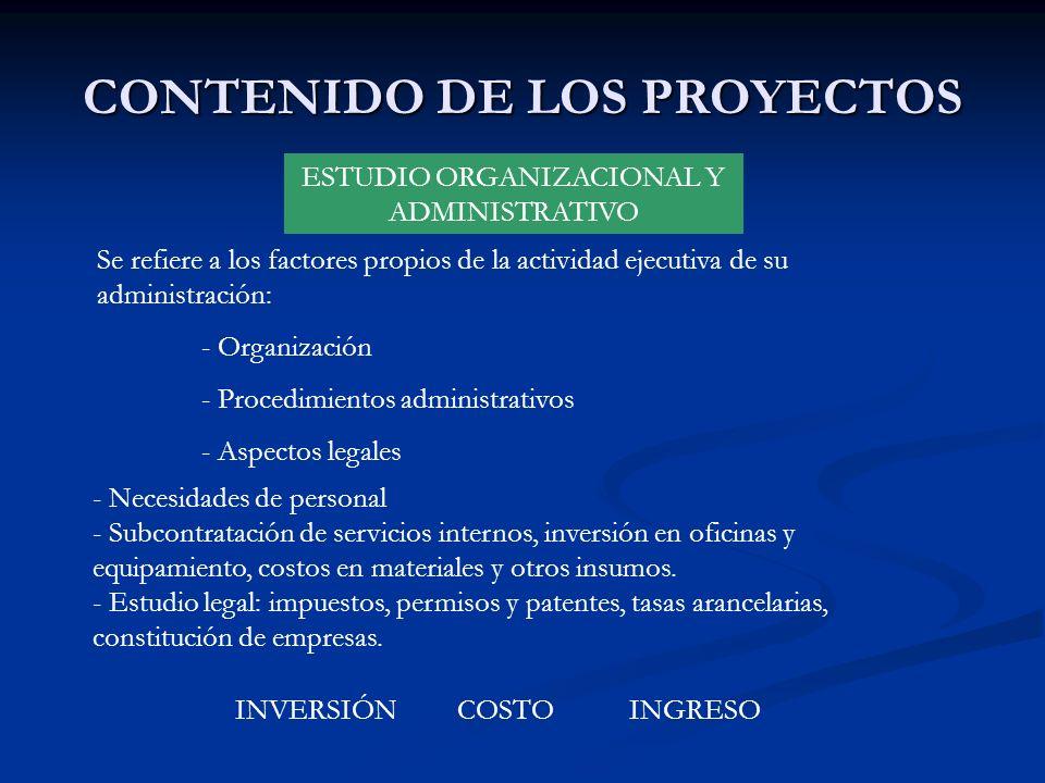 CONTENIDO DE LOS PROYECTOS ESTUDIO ORGANIZACIONAL Y ADMINISTRATIVO Se refiere a los factores propios de la actividad ejecutiva de su administración: -