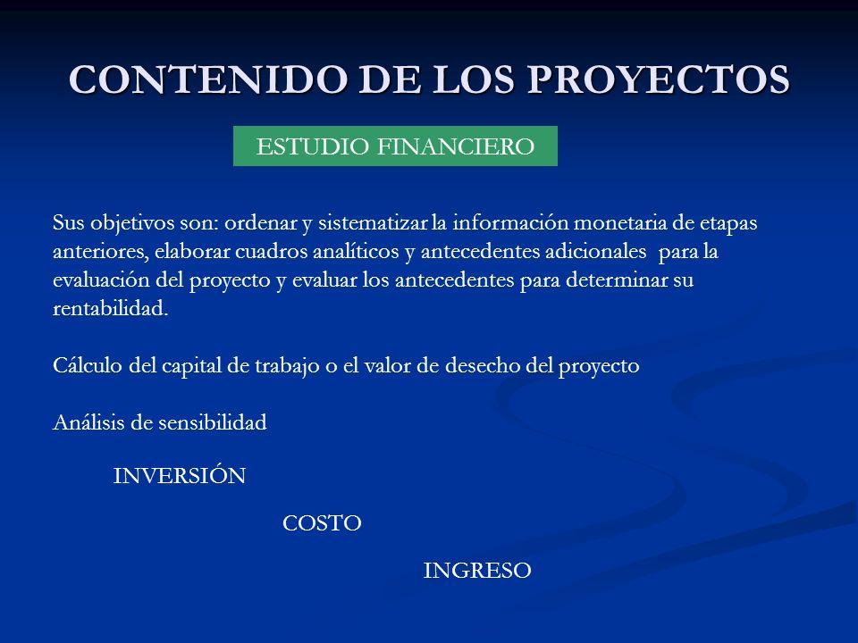 CONTENIDO DE LOS PROYECTOS ESTUDIO FINANCIERO INVERSIÓN COSTO INGRESO Sus objetivos son: ordenar y sistematizar la información monetaria de etapas ant
