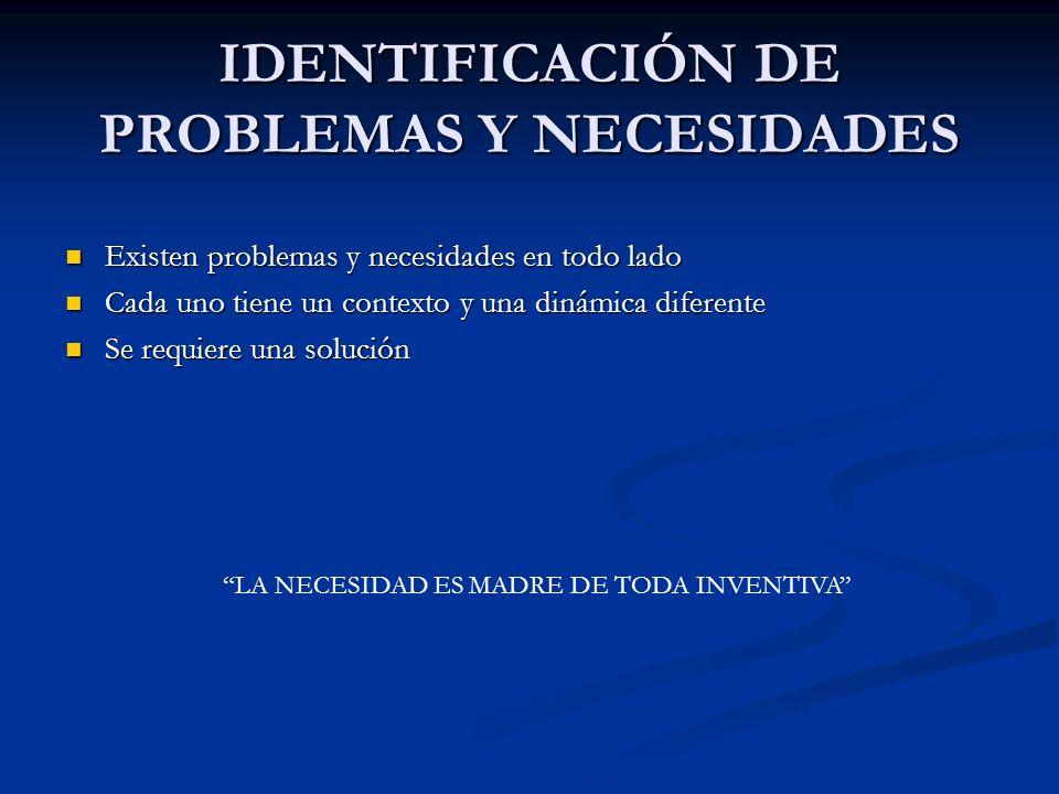 IDENTIFICACIÓN DE PROBLEMAS Y NECESIDADES Existen problemas y necesidades en todo lado Existen problemas y necesidades en todo lado Cada uno tiene un