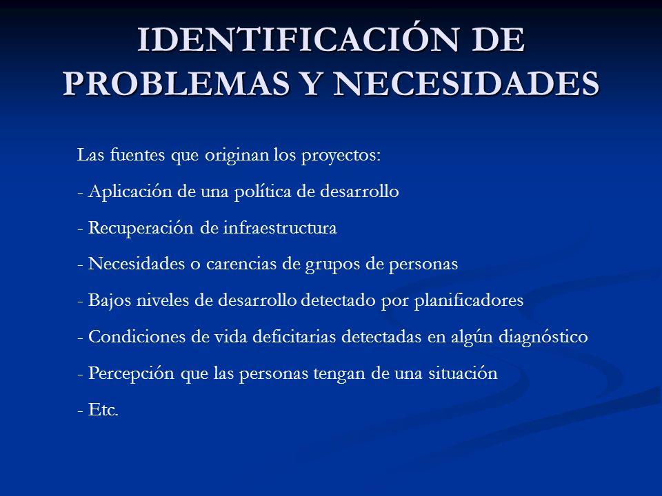 IDENTIFICACIÓN DE PROBLEMAS Y NECESIDADES Las fuentes que originan los proyectos: - Aplicación de una política de desarrollo - Recuperación de infraes