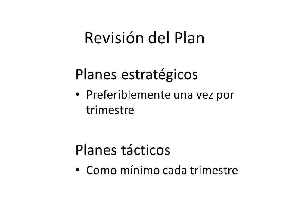 Revisión del Plan Planes estratégicos Preferiblemente una vez por trimestre Planes tácticos Como mínimo cada trimestre