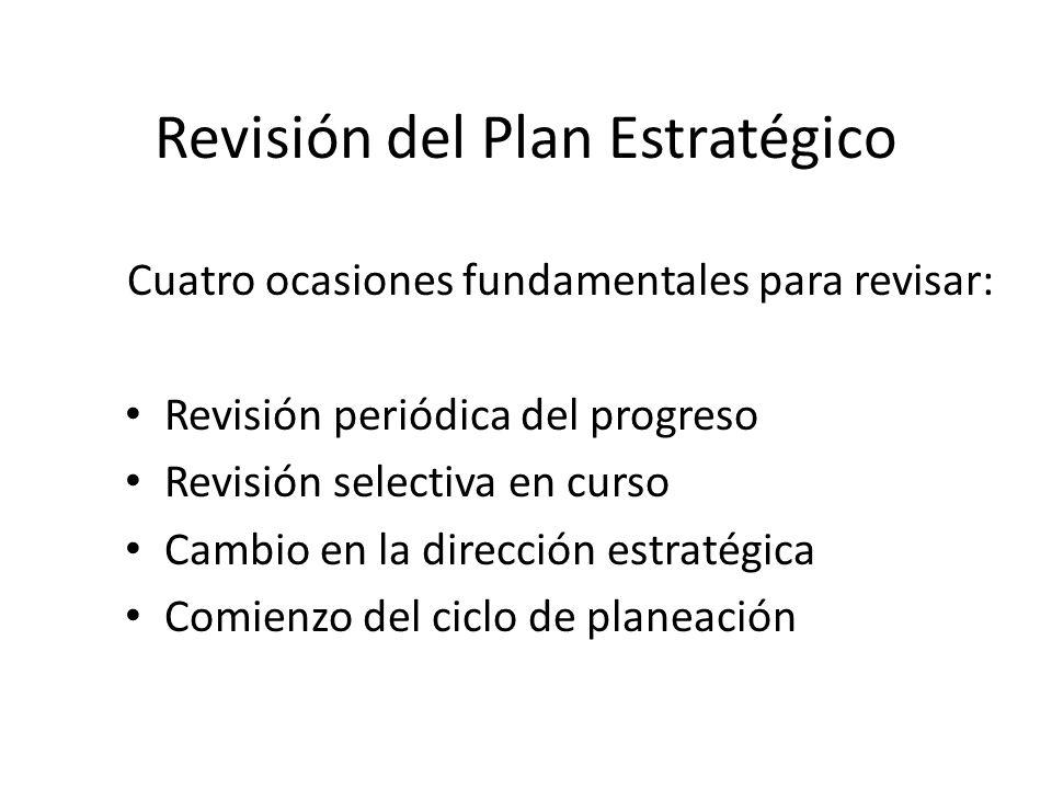 Revisión del Plan Estratégico Cuatro ocasiones fundamentales para revisar: Revisión periódica del progreso Revisión selectiva en curso Cambio en la dirección estratégica Comienzo del ciclo de planeación
