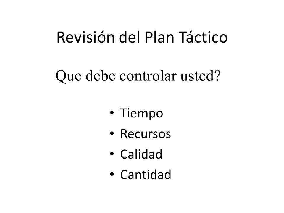 Revisión del Plan Táctico Tiempo Recursos Calidad Cantidad Que debe controlar usted?