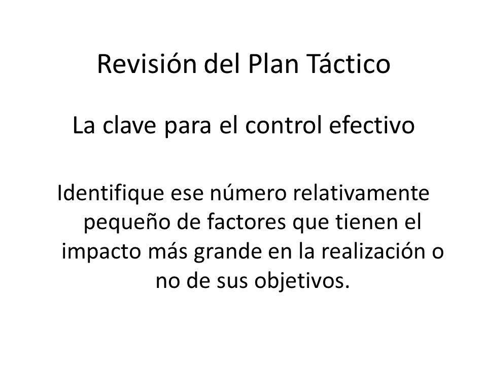 Revisión del Plan Táctico La clave para el control efectivo Identifique ese número relativamente pequeño de factores que tienen el impacto más grande en la realización o no de sus objetivos.