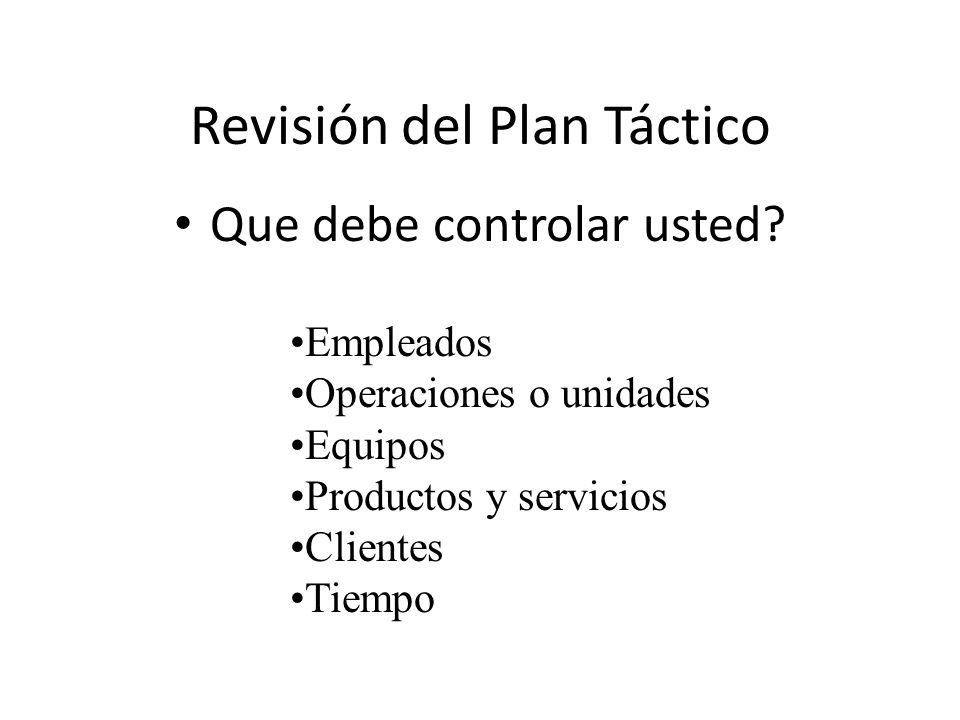 Revisión del Plan Táctico Que debe controlar usted? Empleados Operaciones o unidades Equipos Productos y servicios Clientes Tiempo