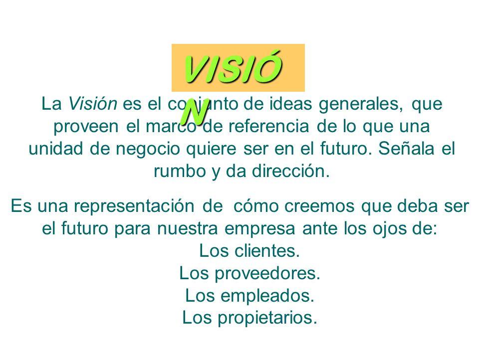La Visión es el conjunto de ideas generales, que proveen el marco de referencia de lo que una unidad de negocio quiere ser en el futuro.