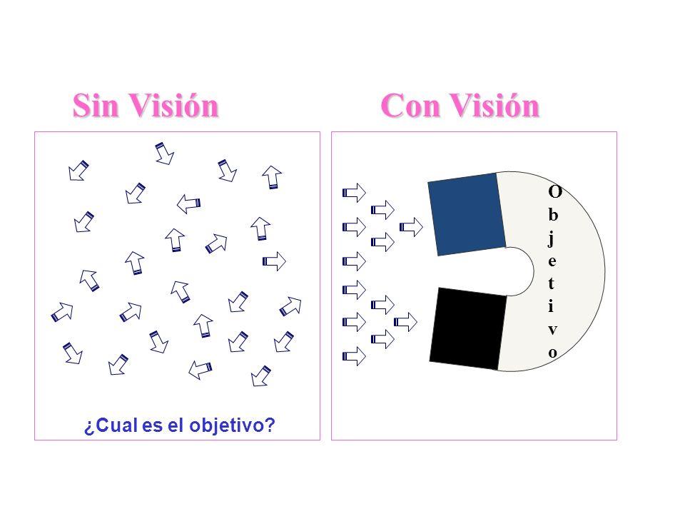 Impacto de una visión efectiva ¿Cual es el objetivo? ObjetivoObjetivo Sin Visión Con Visión