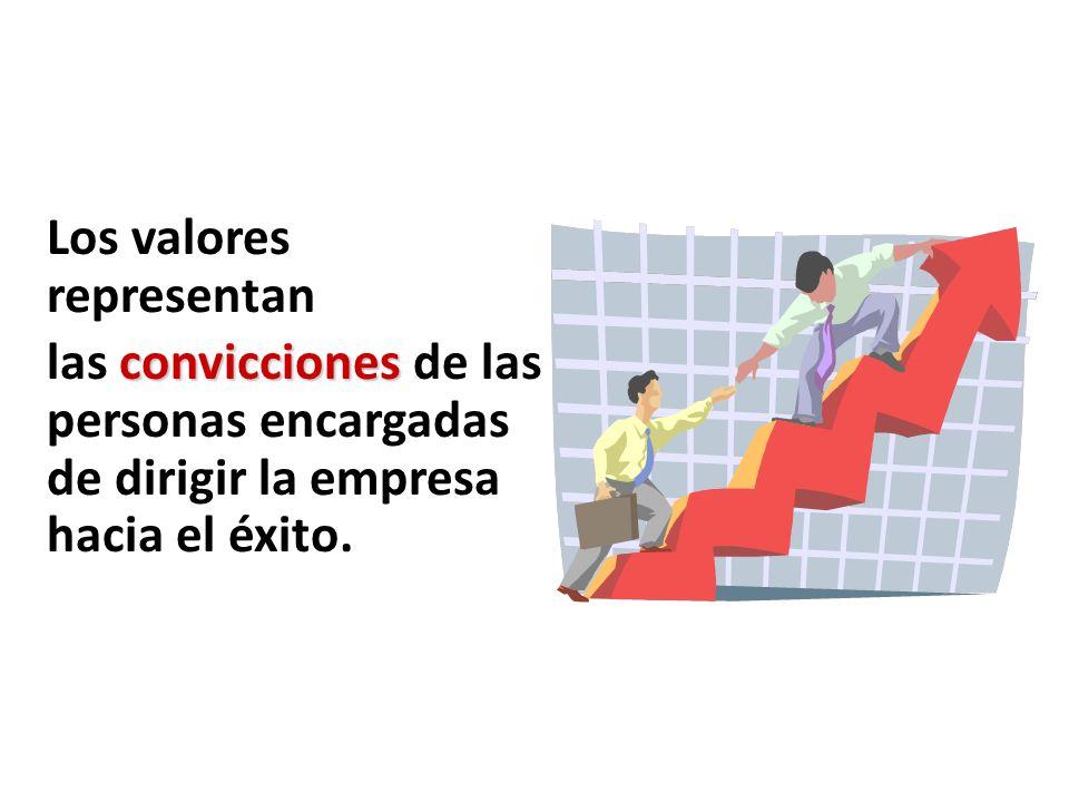 Valores Los valores representan convicciones las convicciones de las personas encargadas de dirigir la empresa hacia el éxito.
